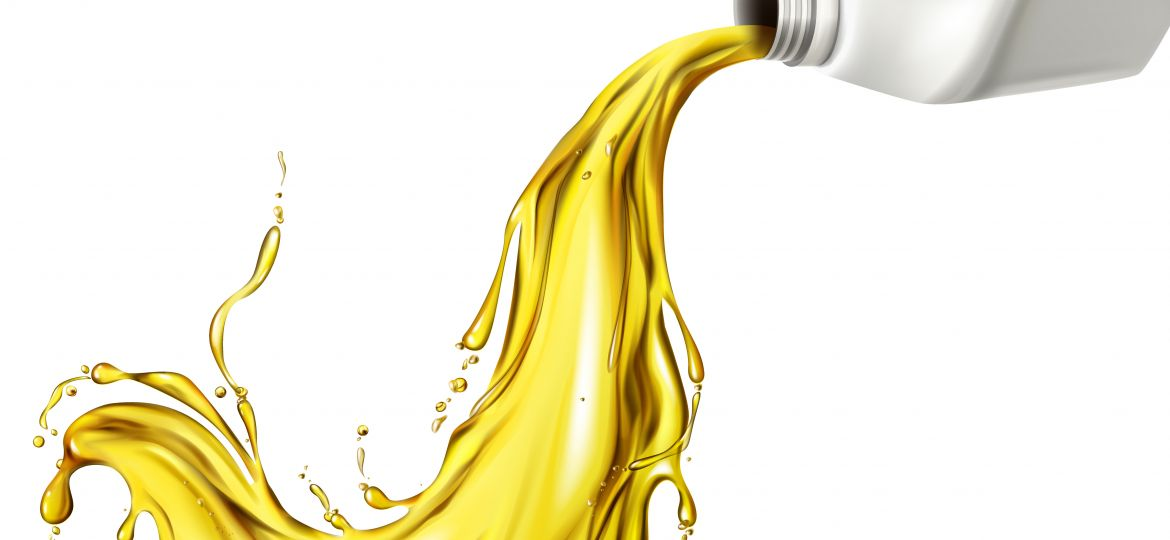 Car lubricant spilling from blank bottle vector